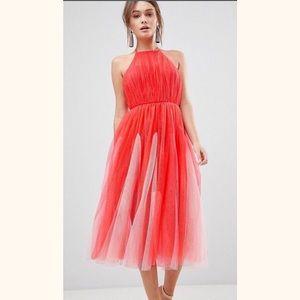 ASOS Premium Halter Tulle Maxi Dress Size 8 NWT